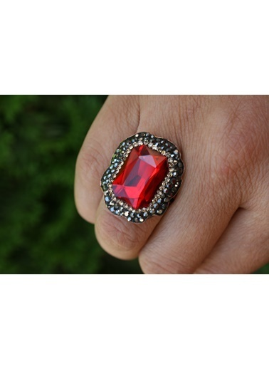 Stoneage Kristal Kırmızı Taşlı Ayarlanabilir Yüzük Kırmızı